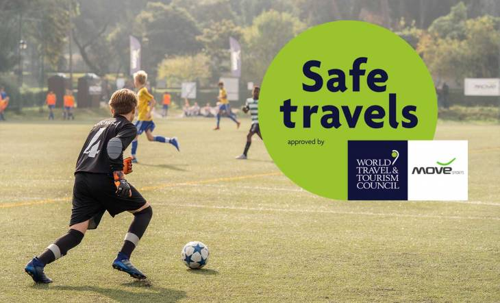 "Move Sports sports tourism activities certified by the WTTC with the ""Safe Travels"" safety stamp"